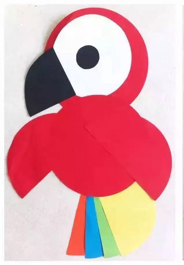 准备材料:卡纸,颜料,剪刀,笔,固体胶等 制作步骤:红色圆形卡纸做小鸟